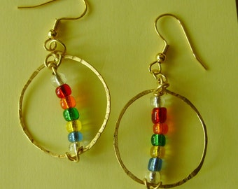 Colorful Pierced Earrings, Hand Tooled Hammered, Rainbow Glass Beaded, Rustic Hoops