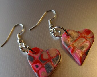 Pink Heart Earrings, Slightly off Kilter, Valentines, Bright Polymer Clay, Pink Red Silver Gray