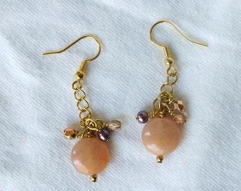 Handmade Bead Earrings Natural Stone Aventurine Czech Glass Pearl Dangle Apricot Peach Sunset Beach
