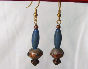 Handmade Pierced Copper Earrings, Exotic, Lampwork Glass, Beaded, Blue