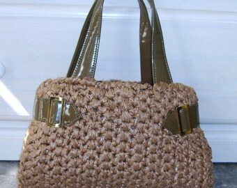 Vintage Crochet Purse, Retro Handbag, Kitsch, Brown Olive, ADG Imports, Vinyl Trim, Mad Men, 1960s 1970s