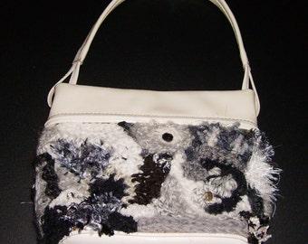 SALE, was 38, Freeform Crochet Purse, Small Handbag, Black White, Embellished, Retro Look, Go With Everything