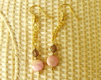 Earrings Pink Brazilian rhodocrosite, dainty dancing dangling,  beaded gold chain