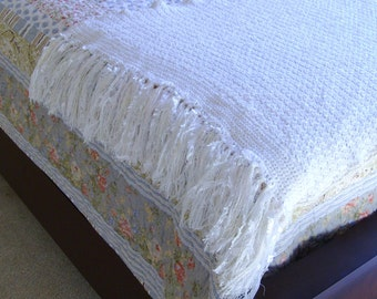 Heirloom Crochet Blanket Handmade White Throw Baby Gift Soft Home Decor Photo Prop