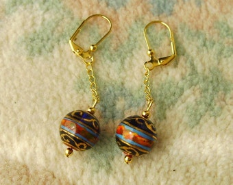 Handmade Beaded Earrings, Cobalt Blue Red Gold, Spheres, Balls, Handpainted, Blown Glass, Chains
