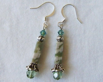 Handmade Artisan Earrings, Seafoam, Beaded, Green Cream Silver, Natural Stone, Jasper, Swarovski Crystals
