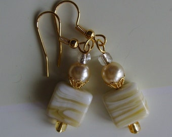 Glass Pearl Earrings, Milk and Honey, Butterscotch Vanilla Caramel,  Coconut Cream Pie