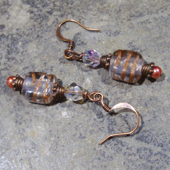 Earrings Copper  Ice, Lampwork Swizzled Glass, Beaded Pearl, Coral Sparkly