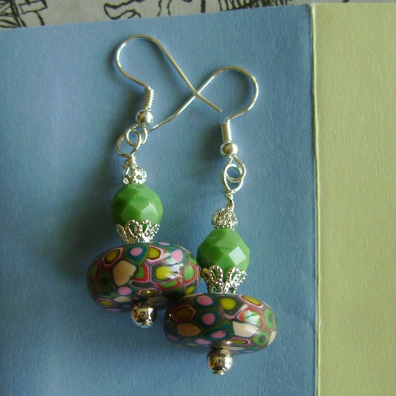 Mod Earrings Green, Mosaic Style, Polymer Clay, Glass, Beaded, Hippie Chic
