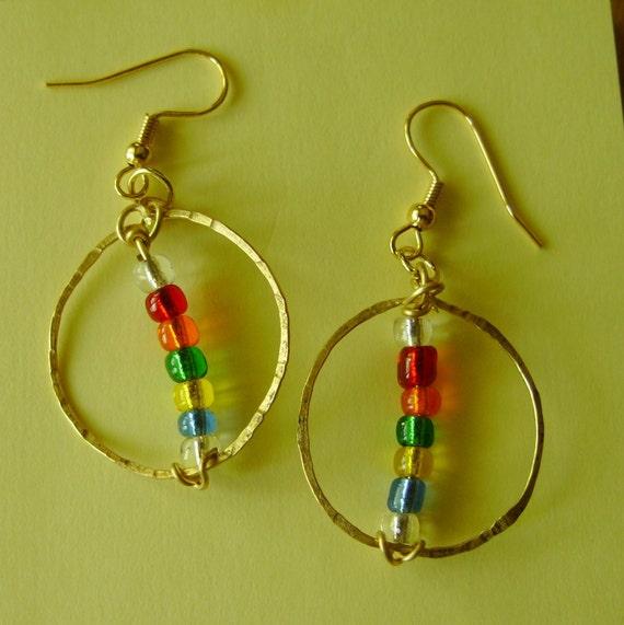 Colorful Pierced Earrings, Rainbow Glass, Beaded, Hand Tooled, Artisan Earrings, Hammered, Rustic Hoops