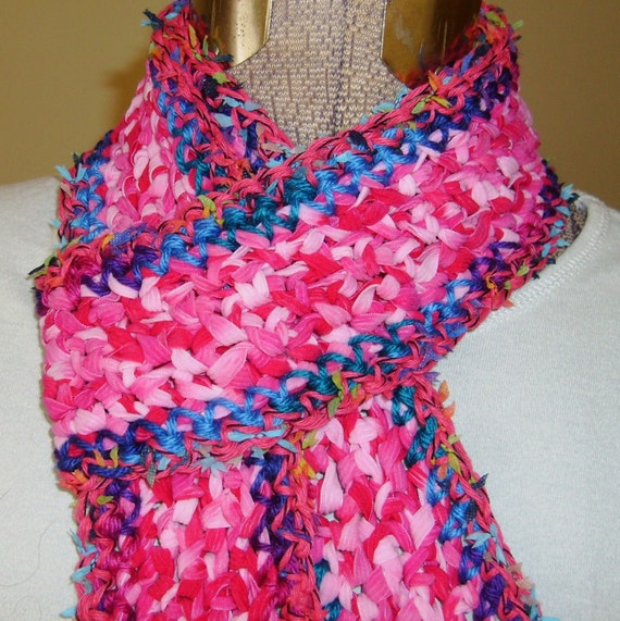 Skinny Crochet Scarf, Hot Pink Purple Blue, Vibrant Color Explosion, Freeform, Soft
