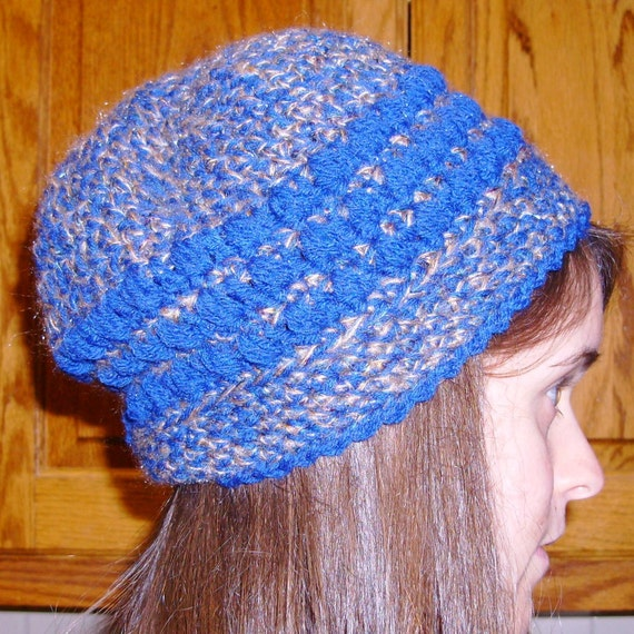 Handmade Crochet Hat, Blue Brown, Slouch Beret, Thinking Cap, unisex, Eco friendly, Chemo