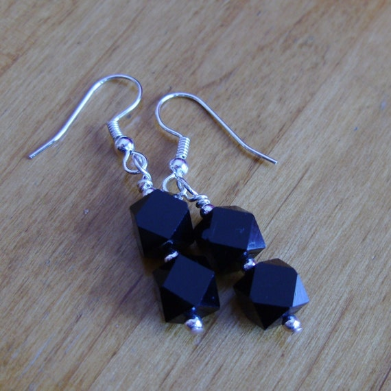 Black Geometric Earrings, Modern, Abstract, Glass Beaded, Silver, Elegant, Handmade, Mod