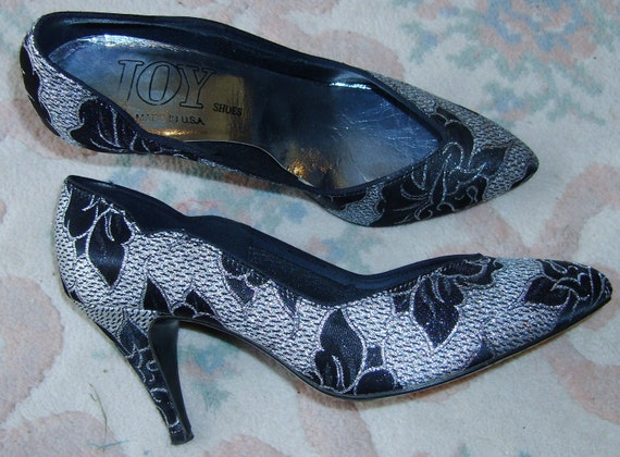 Vintage Pumps Disco Shoes, JOY  6 M, Prom Sparkle Boogie, Black Silver Glam Dressy, Costume