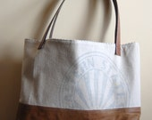 Large One of a Kind Tote Bag made with Recycled Leather and Recycled Vintage Feed sack