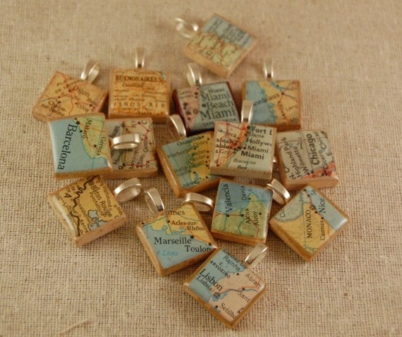 Custom Scrabble Tile Pendant Necklace Made with Vintage Maps- You Name the Place and I Will Make the Necklace