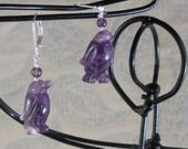penguin jewelry amethyst earrings purple penguins are funny but pretty Gwynstone handmade