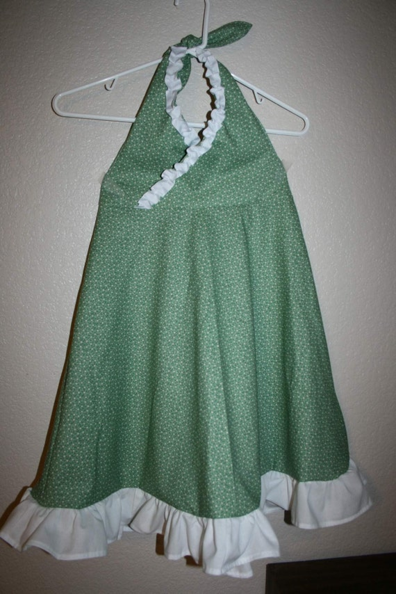 Sage Green and White Flowered Dress Size 8