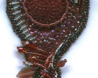 Beaded Victorian red brooch