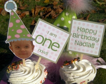 Personalized Custom Photo Birthday Cupcake Toppers
