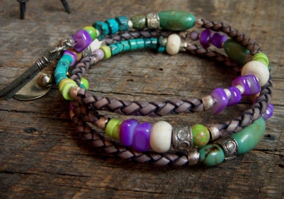 Turquoise, Shell and Howlite Grey Leather Wrap Bracelet