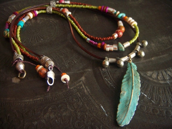 RESERVED-Brass Feather and Glass Beaded Necklace