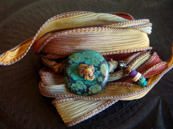 RESERVED-Hand Dyed Silk and Turquoise Donut Wrist Wrap