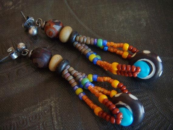 Batik Bone, Glass and Eye Agate Beaded Earrings