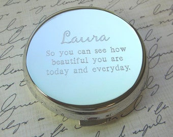 Personalized Engraved Compact Mirror Graduation Gift Bridal Party Favor Mother's Day Teacher Gift