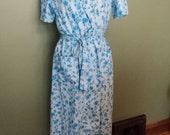 Vintage 50s blue floral cotton wrap day dress L XL