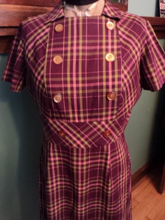 Vintage 50s wine plaid school girl rockabilly day dress L XL