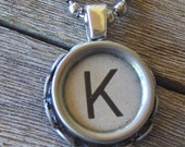 Vintage Typewriter Key Pendant-Necklace- the letter K - ALL letters and numbers available