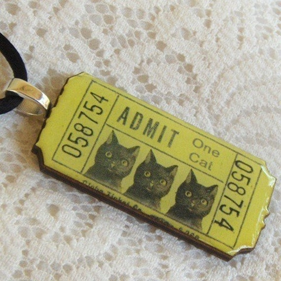 Wooden charm pendant, necklace - Yellow Admit One Cat Ticket