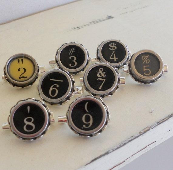 Typewriter Key Brooch/Pin, Numbers 2-9, Recycled Vintage Typewriter Key RESERVED LISTING