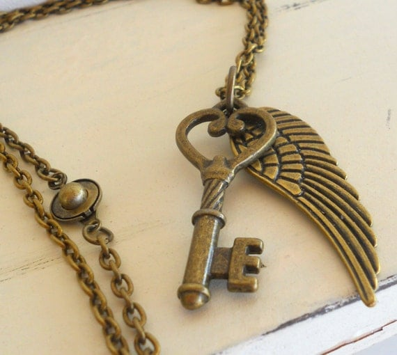 Skeleton Key Charm Necklace. Brass. Steampunk. Key and Wing