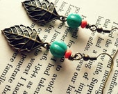 Teal and Coral Leaf Earring