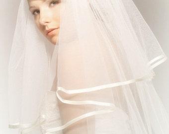 Two Layered Veil Bridal Wedding Handmade Ivory Tulle with Ivory Satin Edge