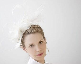 Oversized Fascinator - Designer - Spectacular Ivory - Bridal Fashion Feather Headdress - Head Band Unique Look Fascinator