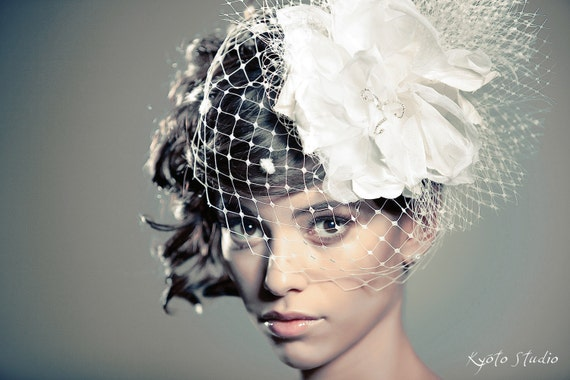 Free-Shipping-Ivory-Flower-Headpiece-Bridal-Veiling-Romantic-Fascinator-Birdcage-Veil-Handmade-Made-To-Order
