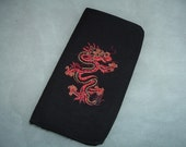 On Sale Embroidered dragon applique check book cover