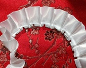 DESTASH 7/8 Inch Pleated Ribbon Trim White Satin