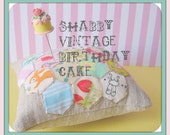 Shabby Vintage Inspired Birthday Cake Pin Topper