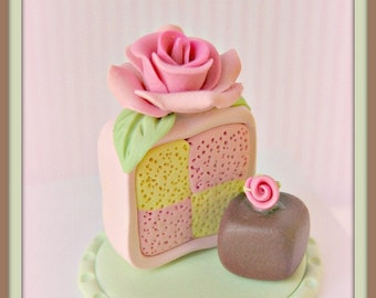 Rosey Battenberg Cake Slice with Chocolate Petite Four Pin Topper