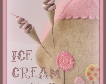 Swirly Chocolate and Strawberry Ice Cream Cone Pin Topper