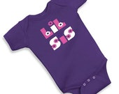 Girls LIL SIS Little Sister Flower Letters PURPLE Short Sleeve Cotton One pIece Bodysuit Size 6 12 18 months