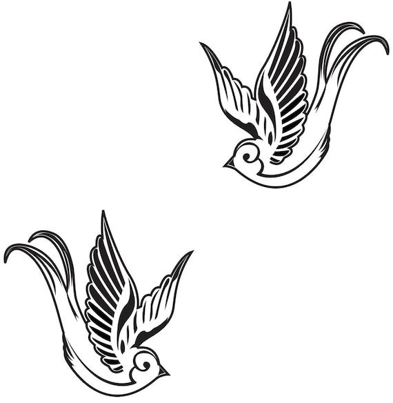 Tattoo style swallow birds vinyl wall art decal sticker for Swallow art tattoo