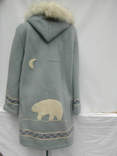 Vintage Eskimo Parka Wool Coat Fox Fur Hood Polar Bear