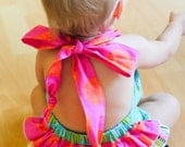 OOH LA LA Summer 2012 Custom infant Toddler Ruffled Bum Bubble Romper Sizes 3mos - 4T