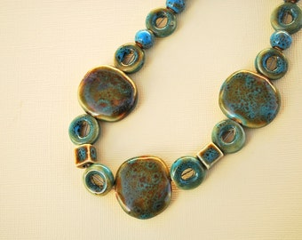 SALE Cerulean Ceramic Bead Necklace
