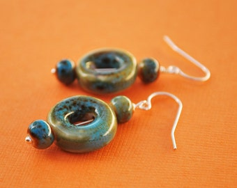 SALE Cerulean Ceramic Bead Earrings